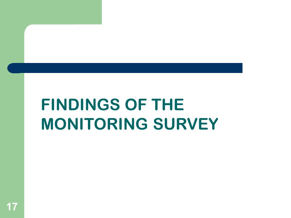 17 FINDINGS OF THE MONITORING SURVEY