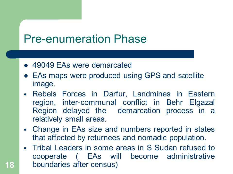 18 Pre-enumeration Phase 49049 EAs were demarcated EAs maps were produced using GPS and satellite image.