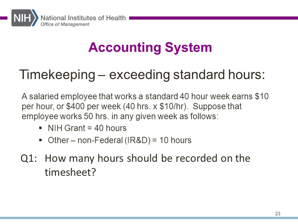 23 Q1:How many hours should be recorded on the timesheet.