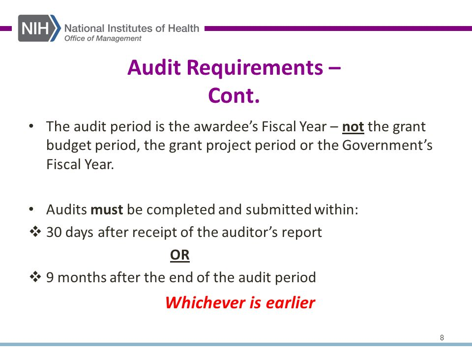 8 Audit Requirements – Cont.