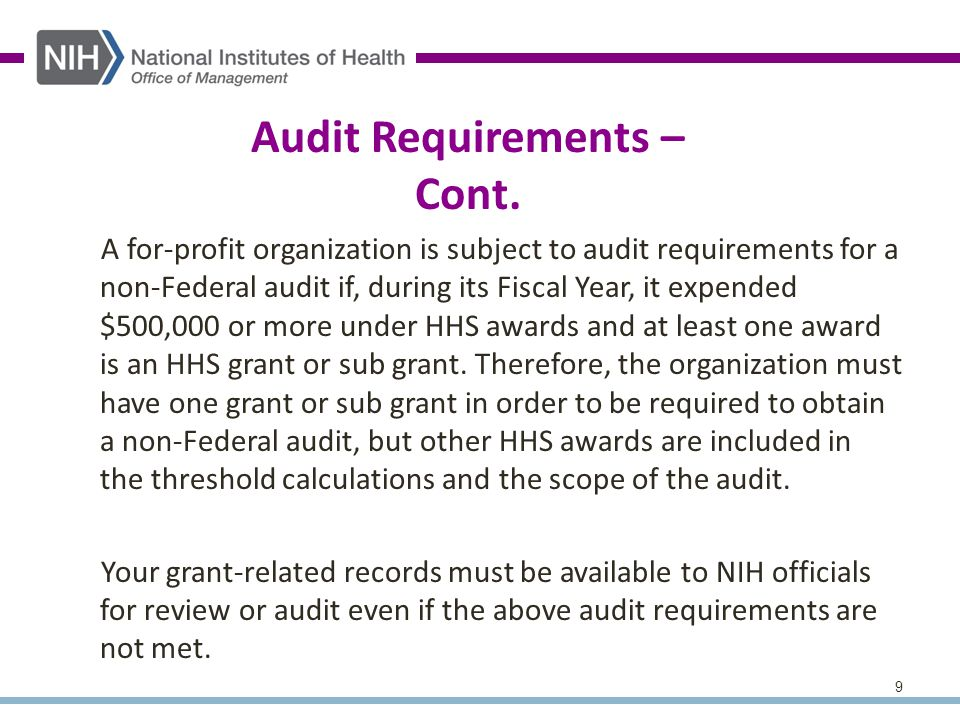 9 Audit Requirements – Cont.