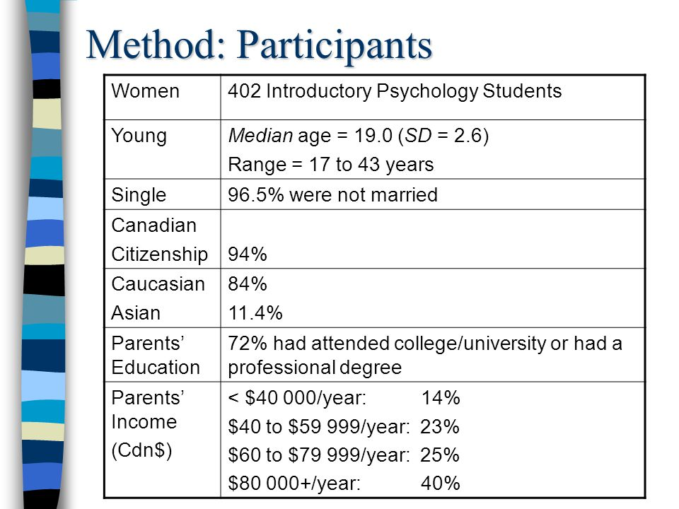 Measures Child Maltreatment Interview Schedule (Briere, 1992)  Child Sexual Abuse (CSA)  Sexual contact before age 14 that involved force, or was with someone five+ years older, or was self-identified as CSA  Child Physical Abuse (CPA)  A physical and purposeful act by a parental guardian (e.g., being hit) that resulted in an injury (e.g., bruises or scratches )  Child Psychological Abuse (CPsycA)  By a parental guardian; E.g., yell at you, criticize you & ridicule or humiliate you  7 statements ranging from 0 (never) to 6 (20+ times a year)