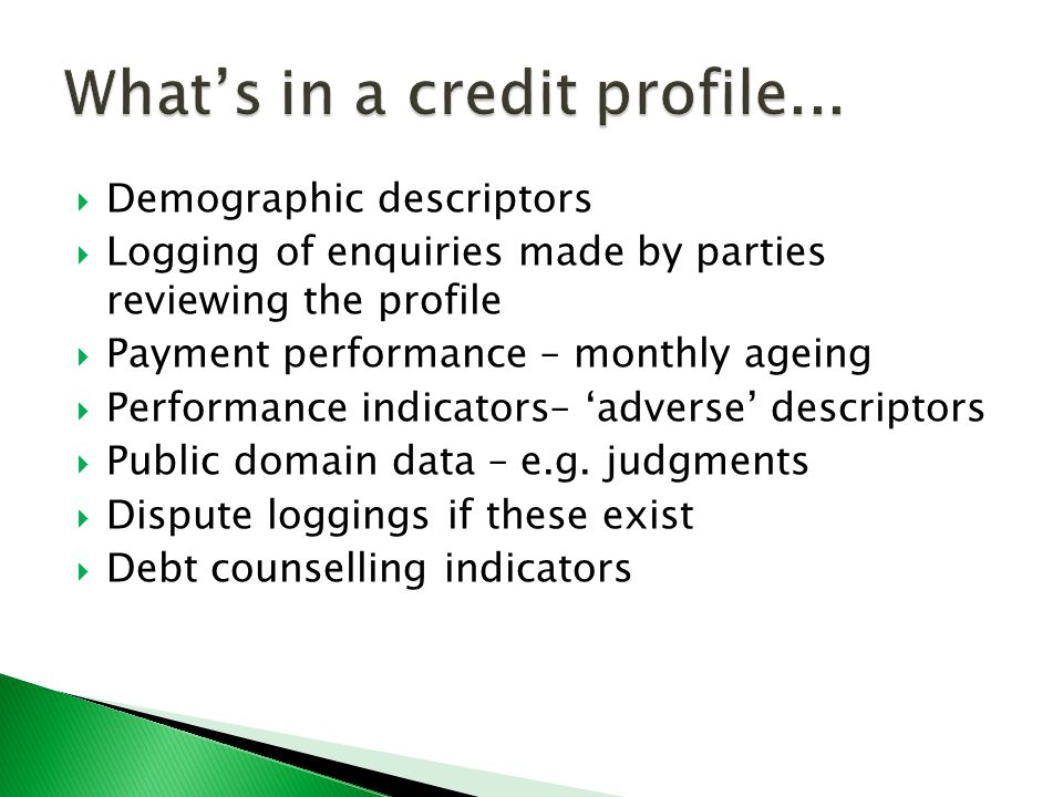  Demographic descriptors  Logging of enquiries made by parties reviewing the profile  Payment performance – monthly ageing  Performance indicators– 'adverse' descriptors  Public domain data – e.g.