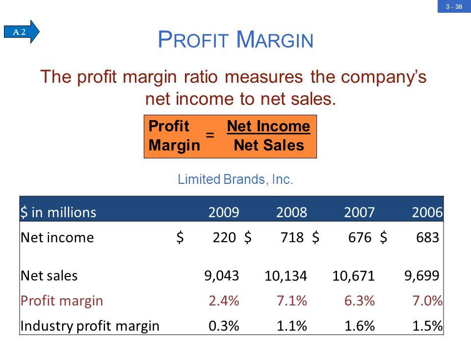 3 - 38 P ROFIT M ARGIN The profit margin ratio measures the company's net income to net sales.