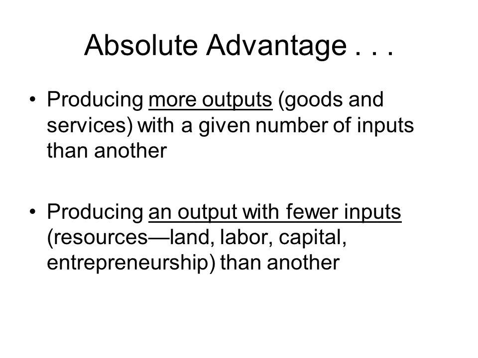 Comparative Advantage...