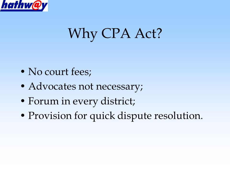 Why CPA Act.