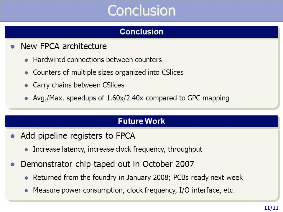 Conclusion Conclusion Future Work New FPCA architecture Hardwired connections between counters Counters of multiple sizes organized into CSlices Carry chains between CSlices Avg./Max.