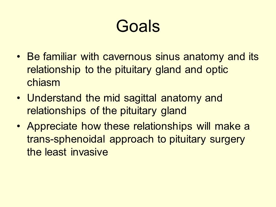 Goals Be familiar with cavernous sinus anatomy and its relationship to the pituitary gland and optic chiasm Understand the mid sagittal anatomy and re