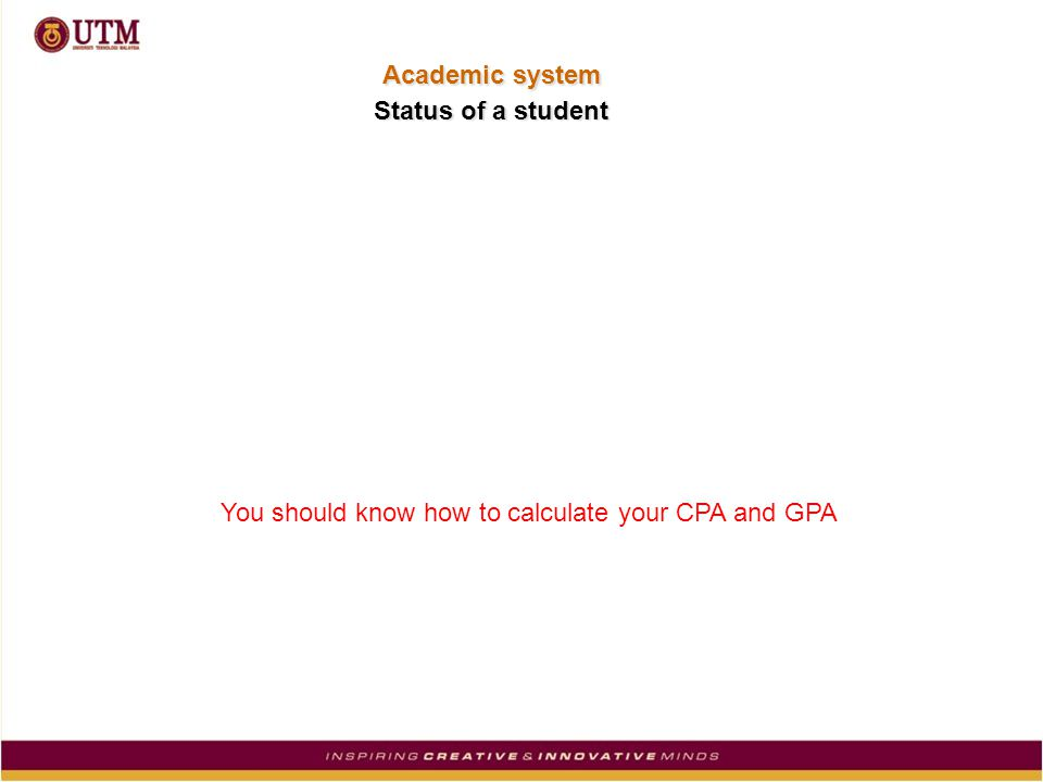 You should know how to calculate your CPA and GPA Status of a student Academic system
