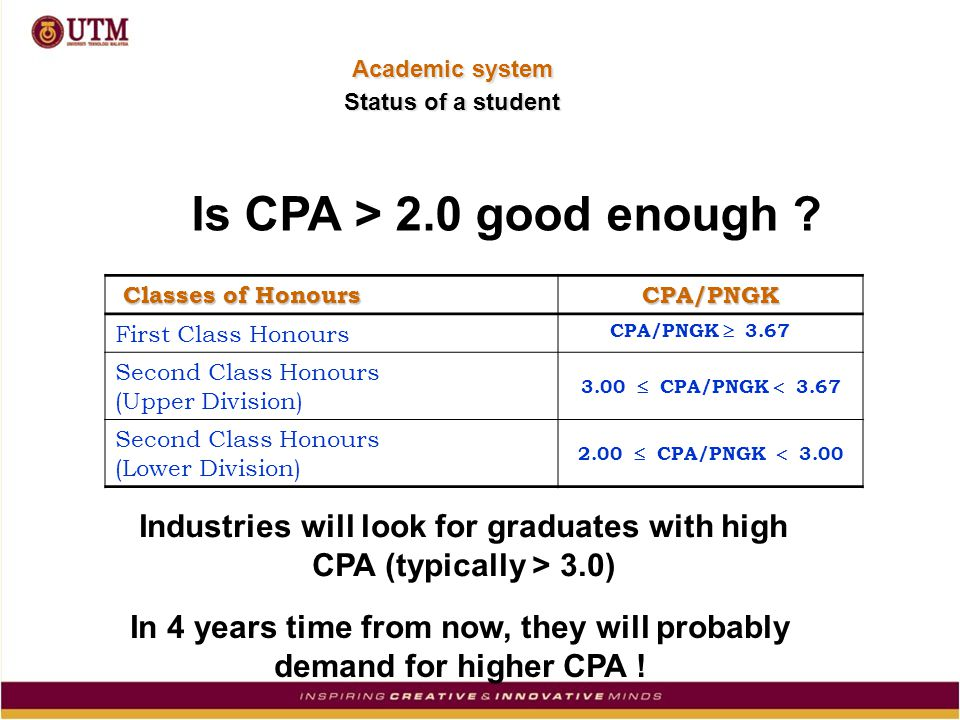 Is CPA > 2.0 good enough .
