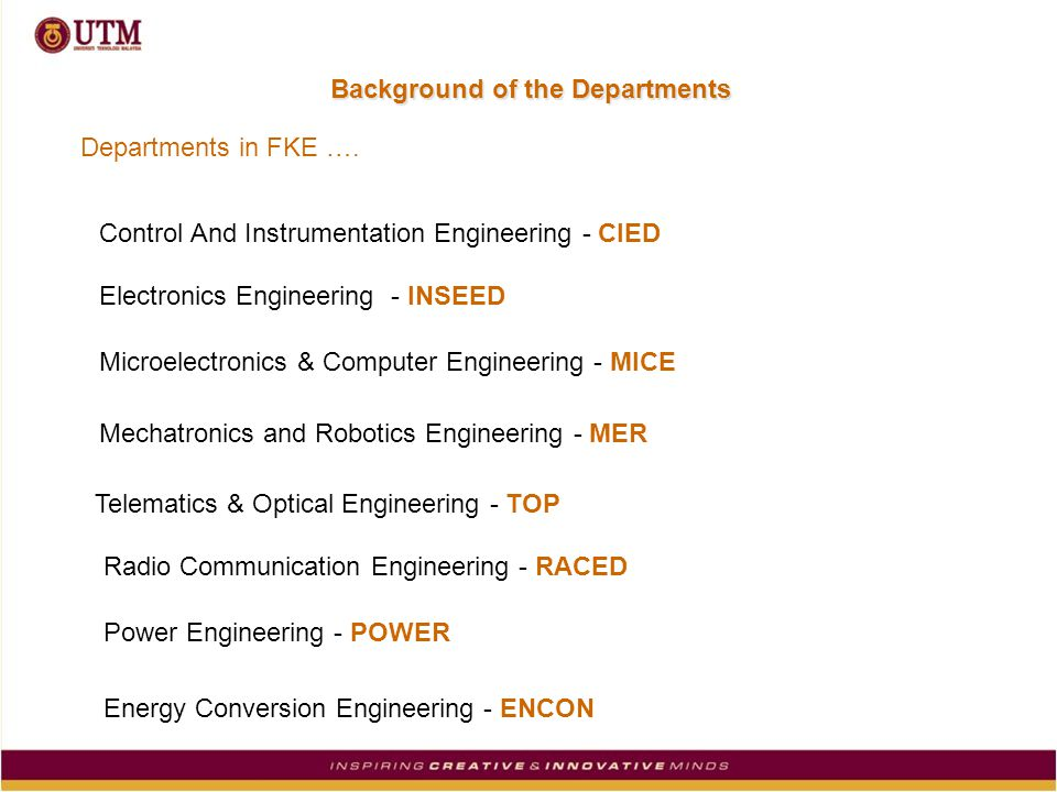 Background of the Departments Control And Instrumentation Engineering - CIED Electronics Engineering - INSEED Microelectronics & Computer Engineering - MICE Mechatronics and Robotics Engineering - MER Telematics & Optical Engineering - TOP Radio Communication Engineering - RACED Power Engineering - POWER Energy Conversion Engineering - ENCON Departments in FKE ….