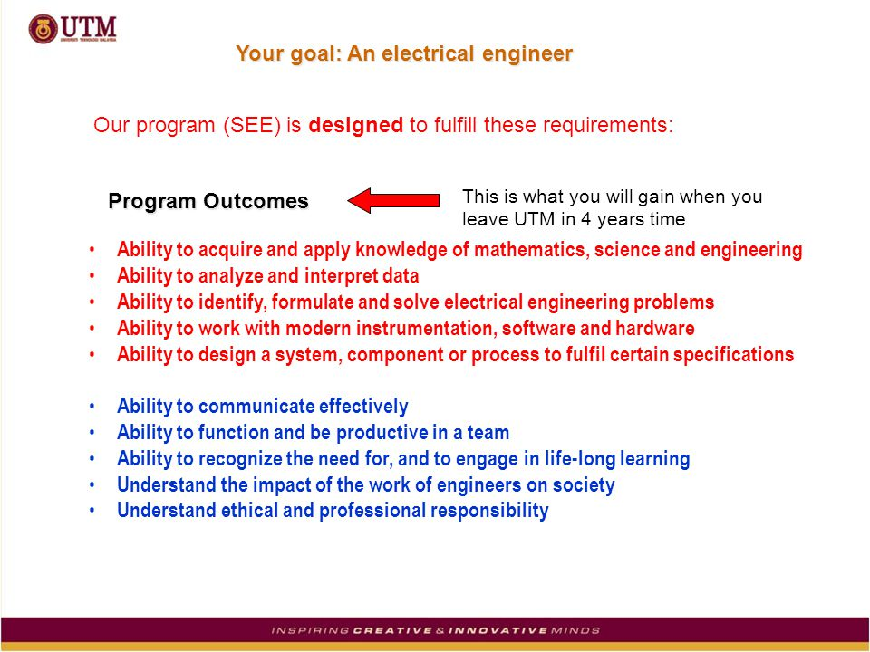 Our program (SEE) is designed to fulfill these requirements: Program Outcomes This is what you will gain when you leave UTM in 4 years time Ability to acquire and apply knowledge of mathematics, science and engineering Ability to analyze and interpret data Ability to identify, formulate and solve electrical engineering problems Ability to work with modern instrumentation, software and hardware Ability to design a system, component or process to fulfil certain specifications Ability to communicate effectively Ability to function and be productive in a team Ability to recognize the need for, and to engage in life-long learning Understand the impact of the work of engineers on society Understand ethical and professional responsibility Your goal: An electrical engineer