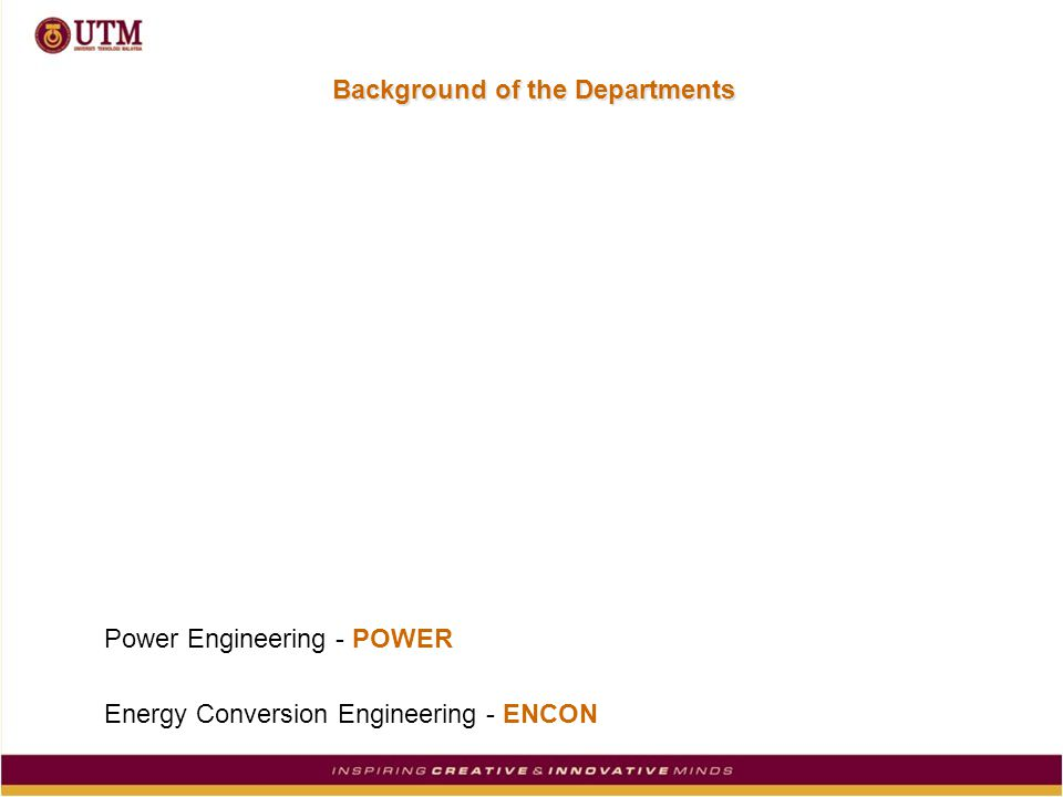 Background of the Departments Power Engineering - POWER Energy Conversion Engineering - ENCON