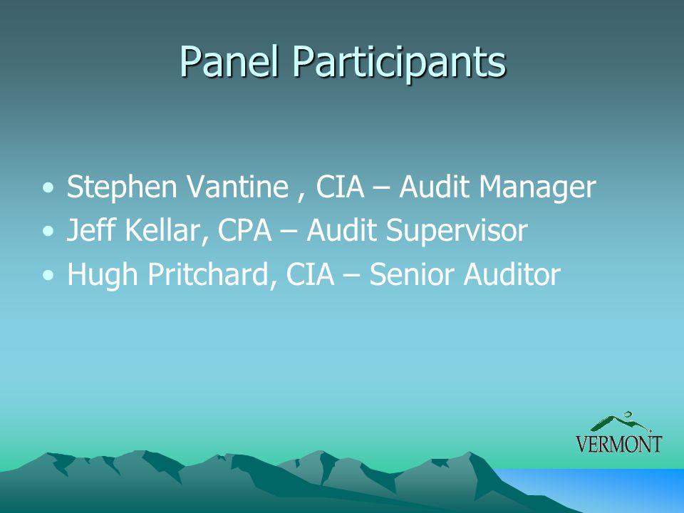 Panel Participants Stephen Vantine, CIA – Audit Manager Jeff Kellar, CPA – Audit Supervisor Hugh Pritchard, CIA – Senior Auditor