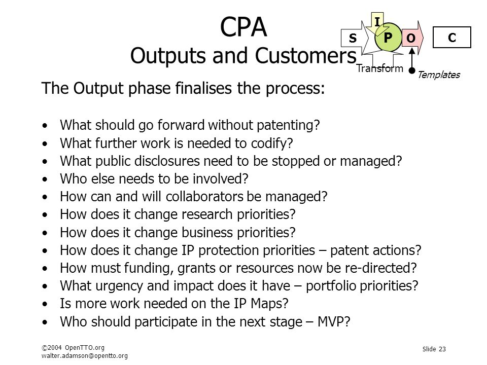 ©2004 OpenTTO.org walter.adamson@opentto.org Slide 23 CPA Outputs and Customers The Output phase finalises the process: What should go forward without patenting.