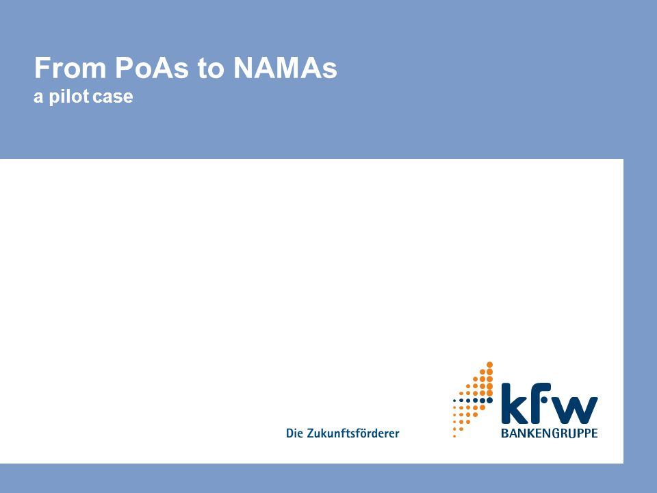 From PoAs to NAMAs a pilot case