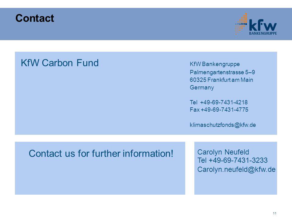11 Contact KfW Carbon Fund KfW Bankengruppe Palmengartenstrasse 5–9 60325 Frankfurt am Main Germany Tel +49-69-7431-4218 Fax +49-69-7431-4775 klimaschutzfonds@kfw.de Carolyn Neufeld Tel +49-69-7431-3233 Carolyn.neufeld@kfw.de Contact us for further information!