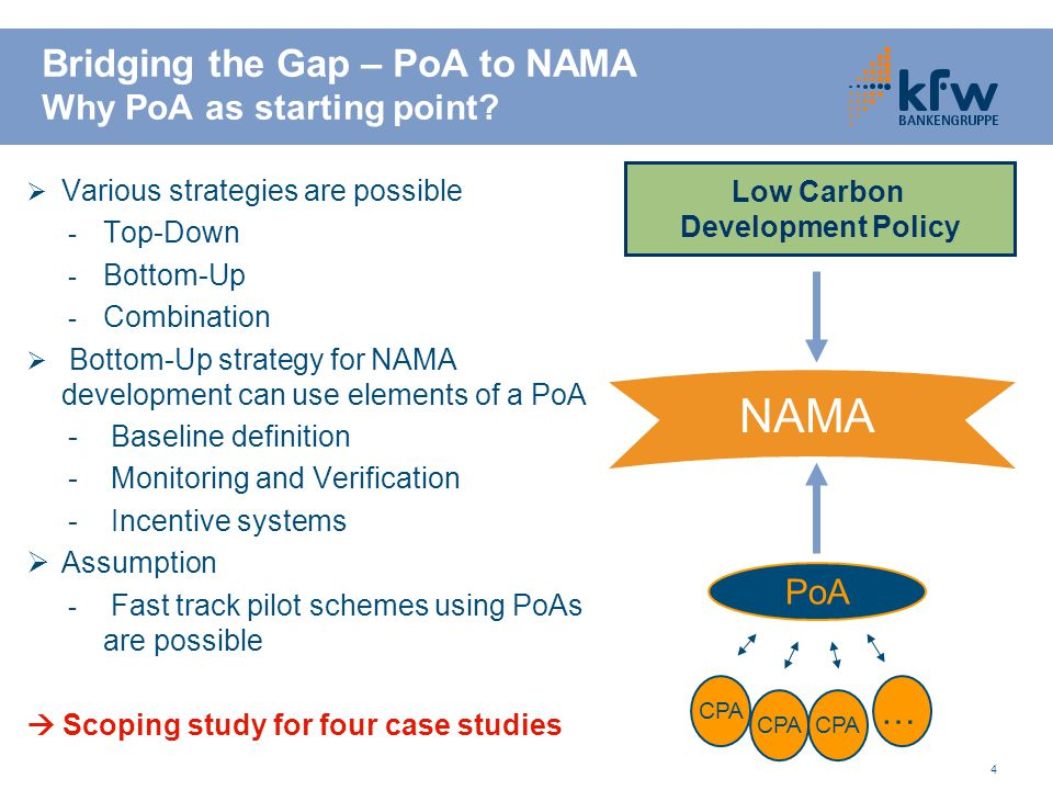 4 Bridging the Gap – PoA to NAMA Why PoA as starting point?  Various strategies are possible - Top-Down - Bottom-Up - Combination  Bottom-Up strateg