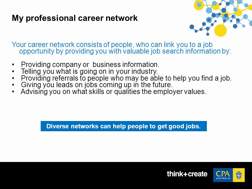 My professional career network Your career network consists of people, who can link you to a job opportunity by providing you with valuable job search information by: Providing company or business information.