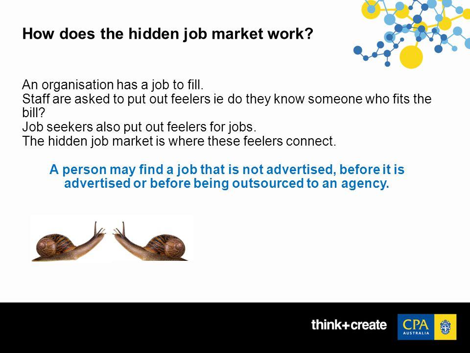 How does the hidden job market work. An organisation has a job to fill.