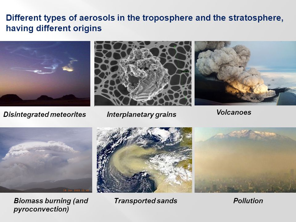 Applications (under meteo balloons) Better determination of the size distribution and concentration for : - Pollution aerosols - Transported atmospheric sand - Volcanic ashes (aviation) Determination of the main nature of the aerosols in the various parts of the atmosphere