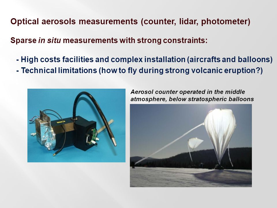 Optical aerosols measurements (counter, lidar, photometer) Sparse in situ measurements with strong constraints:  - High costs facilities and complex