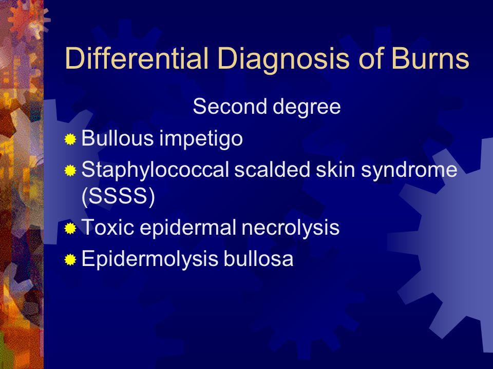 Differential Diagnosis of Burns Second degree  Bullous impetigo  Staphylococcal scalded skin syndrome (SSSS)  Toxic epidermal necrolysis  Epidermolysis bullosa