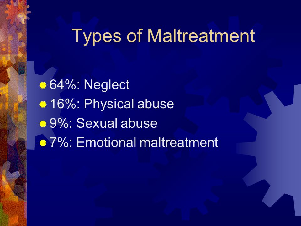 Types of Maltreatment  64%: Neglect  16%: Physical abuse  9%: Sexual abuse  7%: Emotional maltreatment