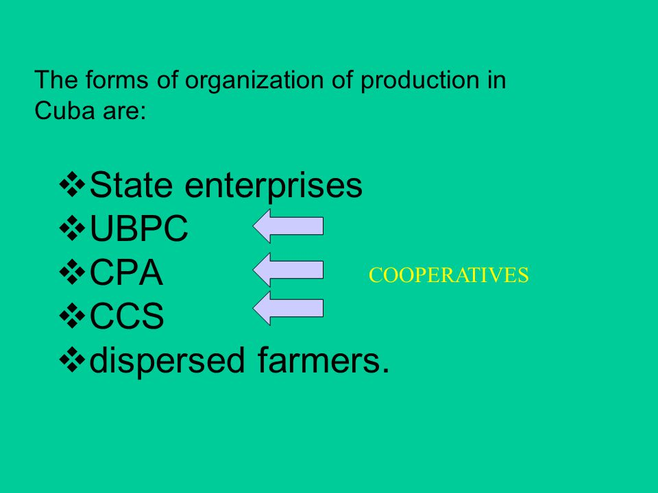 The forms of organization of production in Cuba are:  State enterprises  UBPC  CPA  CCS  dispersed farmers.