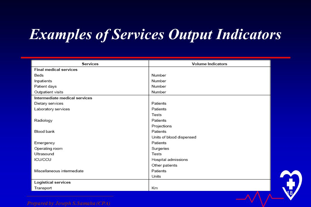 ________________________________ Prepared by Joseph S.Samaha (CPA) 18 Examples of Services Output Indicators