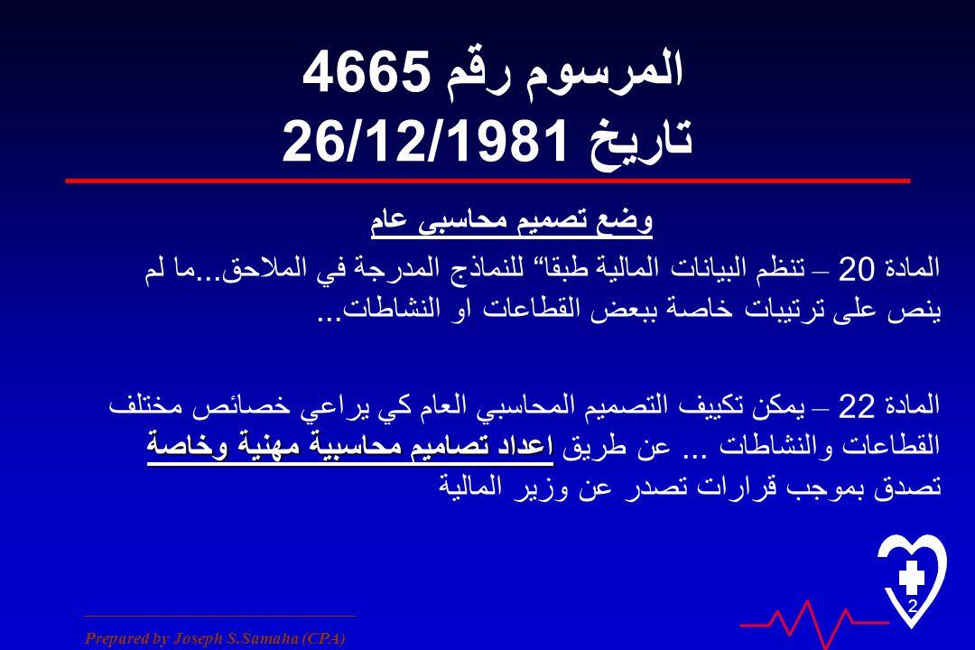 ________________________________ Prepared by Joseph S.Samaha (CPA) 2 المرسوم رقم 4665 تاريخ 26/12/1981 وضع تصميم محاسبي عام المادة 20 – تنظم البيانات المالية طبقا للنماذج المدرجة في الملاحق...
