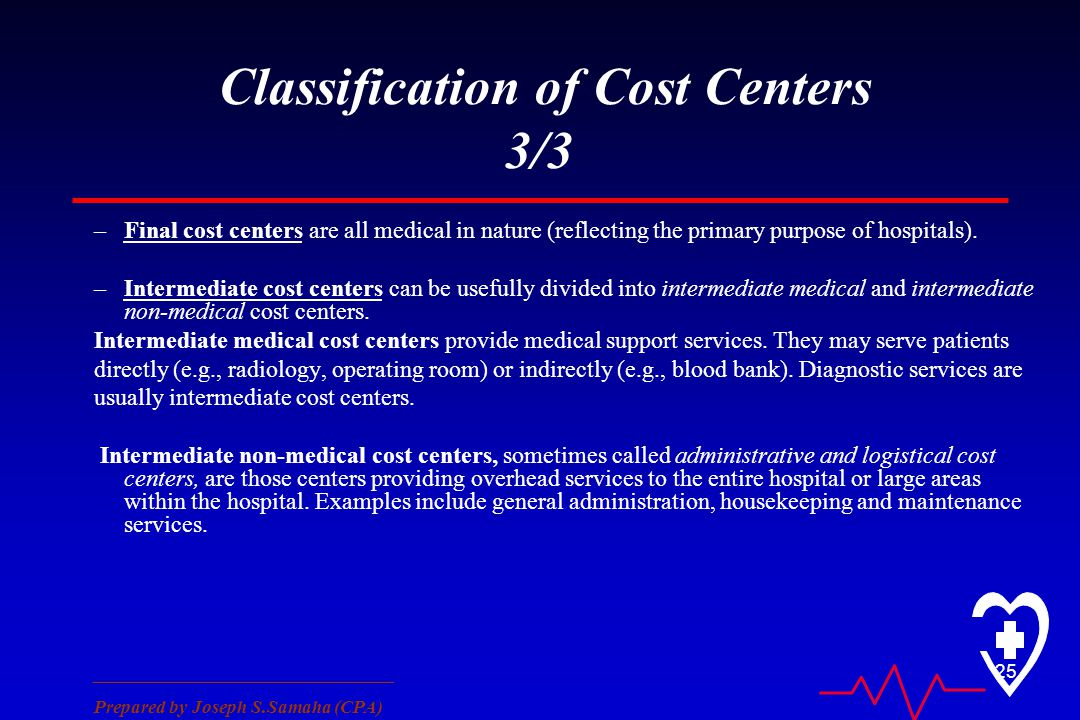 ________________________________ Prepared by Joseph S.Samaha (CPA) 25 Classification of Cost Centers 3/3 –Final cost centers are all medical in nature