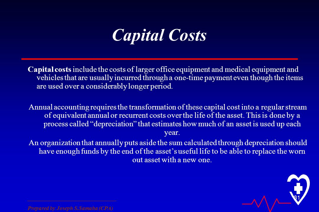 ________________________________ Prepared by Joseph S.Samaha (CPA) 31 Capital Costs Capital costs include the costs of larger office equipment and med