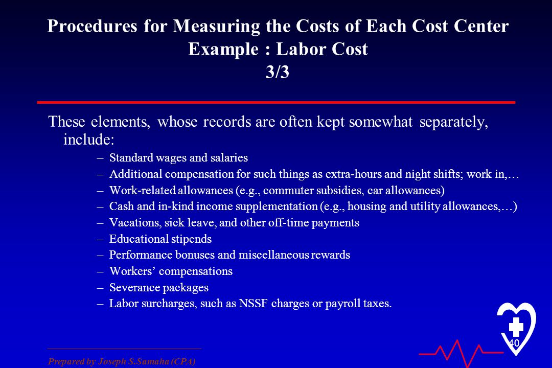 ________________________________ Prepared by Joseph S.Samaha (CPA) 40 Procedures for Measuring the Costs of Each Cost Center Example : Labor Cost 3/3