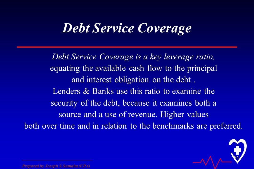 ________________________________ Prepared by Joseph S.Samaha (CPA) 51 Debt Service Coverage Debt Service Coverage is a key leverage ratio, equating th