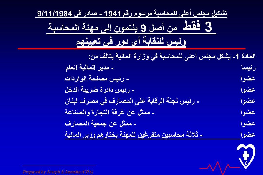 ________________________________ Prepared by Joseph S.Samaha (CPA) 6 تشكيل مجلس أعلى للمحاسبة مرسوم رقم 1941 - صادر في 9/11/1984 3 فقط من أصل 9 ينتمون الى مهنة المحاسبة وليس للنقابة أي دور في تعيينهم المادة 1 - يشكل مجلس أعلى للمحاسبة في وزارة المالية يتألف من : - مدير المالية العامرئيسا - رئيس مصلحة الوارداتعضوا - رئيس دائرة ضريبة الدخلعضوا - رئيس لجنة الرقابة على المصارف في مصرف لبنانعضوا - ممثل عن غرفة التجارة والصناعةعضوا - ممثل عن جمعية المصارفعضوا - ثلاثة محاسبين متفرغين للمهنة يختارهم وزير الماليةعضوا