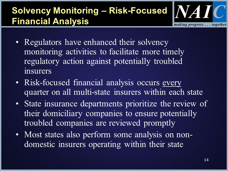 14 Solvency Monitoring – Risk-Focused Financial Analysis Regulators have enhanced their solvency monitoring activities to facilitate more timely regulatory action against potentially troubled insurers Risk-focused financial analysis occurs every quarter on all multi-state insurers within each state State insurance departments prioritize the review of their domiciliary companies to ensure potentially troubled companies are reviewed promptly Most states also perform some analysis on non- domestic insurers operating within their state