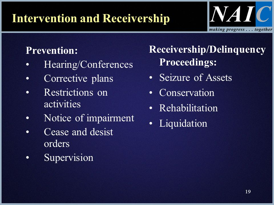 19 Prevention: Hearing/Conferences Corrective plans Restrictions on activities Notice of impairment Cease and desist orders Supervision Receivership/Delinquency Proceedings: Seizure of Assets Conservation Rehabilitation Liquidation Intervention and Receivership