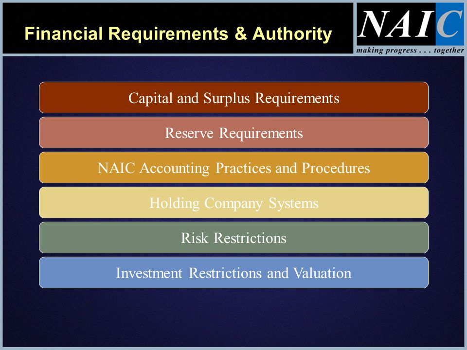 Financial Requirements & Authority Examination Authority Corrective Action & Receivership Filings with NAIC Reinsurance Restrictions CPA Audits and Actuarial Opinions Requirements for Producers, Managing General Agents