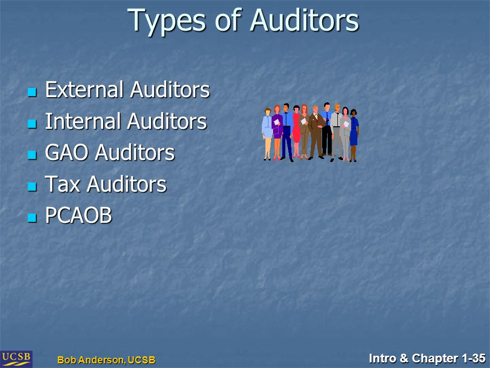 Intro & Chapter 1-35 Bob Anderson, UCSB Types of Auditors External Auditors External Auditors Internal Auditors Internal Auditors GAO Auditors GAO Auditors Tax Auditors Tax Auditors PCAOB PCAOB