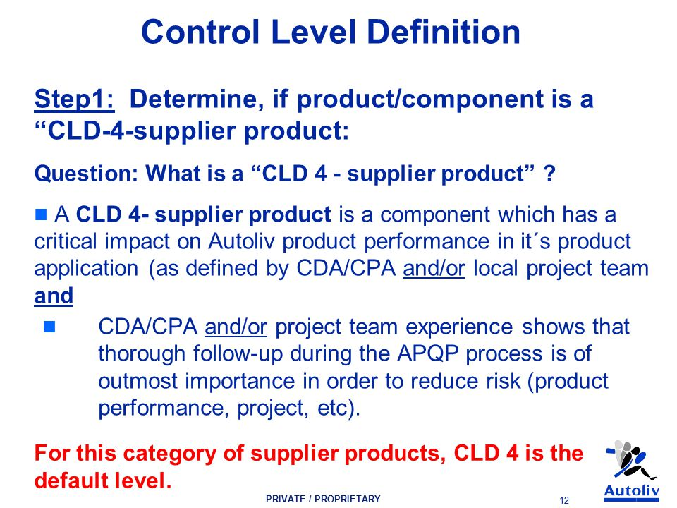 PRIVATE / PROPRIETARY 12 Control Level Definition Step1: Determine, if product/component is a CLD-4-supplier product: Question: What is a CLD 4 - supplier product .