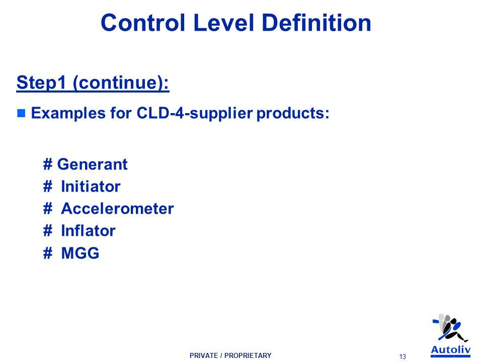 PRIVATE / PROPRIETARY 13 Control Level Definition Step1 (continue): Examples for CLD-4-supplier products: # Generant # Initiator # Accelerometer # Inflator # MGG