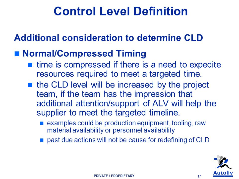 PRIVATE / PROPRIETARY 17 Control Level Definition Additional consideration to determine CLD Normal/Compressed Timing time is compressed if there is a need to expedite resources required to meet a targeted time.