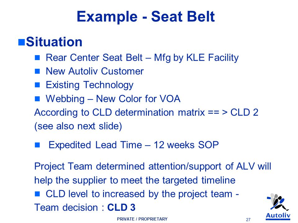PRIVATE / PROPRIETARY 27 Example - Seat Belt Situation Rear Center Seat Belt – Mfg by KLE Facility New Autoliv Customer Existing Technology Webbing – New Color for VOA According to CLD determination matrix == > CLD 2 (see also next slide) Expedited Lead Time – 12 weeks SOP Project Team determined attention/support of ALV will help the supplier to meet the targeted timeline CLD level to increased by the project team - Team decision : CLD 3