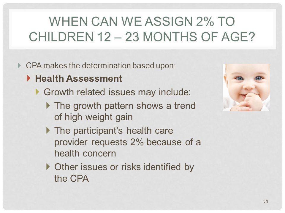WHEN CAN WE ASSIGN 2% TO CHILDREN 12 – 23 MONTHS OF AGE.