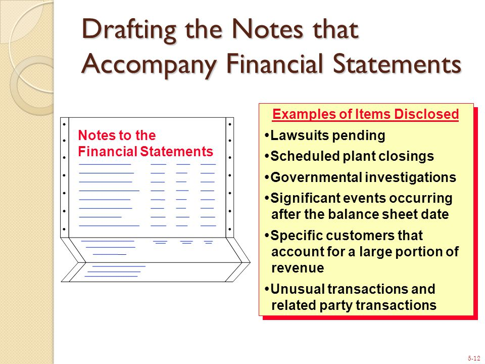 5-12 Notes to the Financial Statements Examples of Items Disclosed  Lawsuits pending  Scheduled plant closings  Governmental investigations  Significant events occurring after the balance sheet date  Specific customers that account for a large portion of revenue  Unusual transactions and related party transactions Examples of Items Disclosed  Lawsuits pending  Scheduled plant closings  Governmental investigations  Significant events occurring after the balance sheet date  Specific customers that account for a large portion of revenue  Unusual transactions and related party transactions Drafting the Notes that Accompany Financial Statements