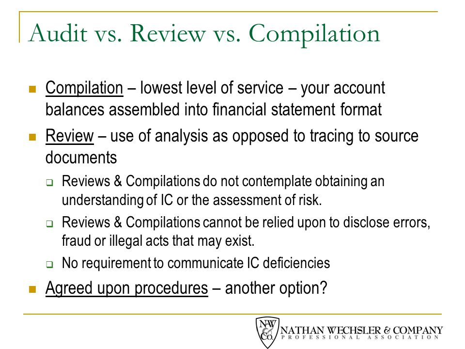 Audit vs. Review vs.