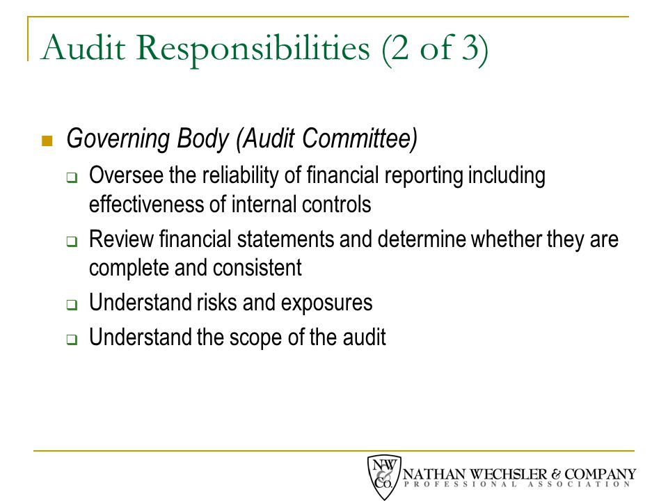 Audit Responsibilities (2 of 3) Governing Body (Audit Committee)  Oversee the reliability of financial reporting including effectiveness of internal controls  Review financial statements and determine whether they are complete and consistent  Understand risks and exposures  Understand the scope of the audit