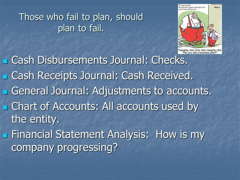 Those who fail to plan, should plan to fail. Cash Disbursements Journal: Checks. Cash Disbursements Journal: Checks. Cash Receipts Journal: Cash Recei