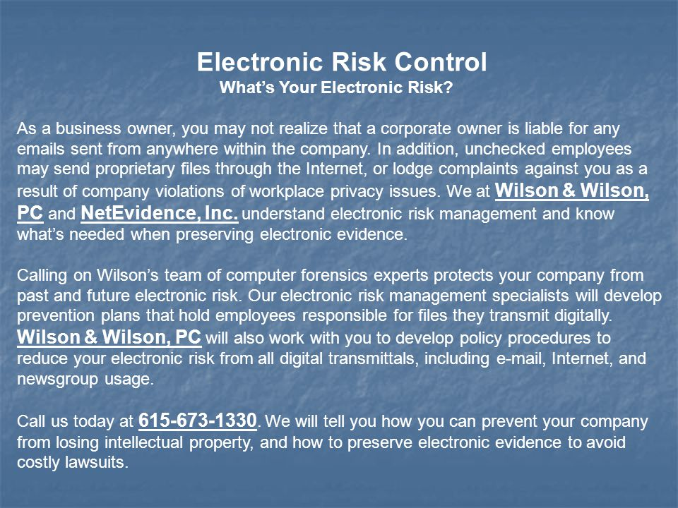 Electronic Risk Control What's Your Electronic Risk.